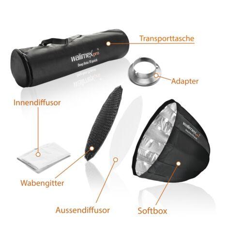 Walimex pro Studio Line Deep Rota SB QA70 mit Softboxadapter Aurora//Bowens