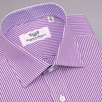 Purple Striped Mens Formal Business Shirt French Double Cuffs Plaids & Checks Gq