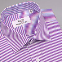 Purple Striped Mens Formal Business Shirt French Double Cuffs Plaids & Checks Gq