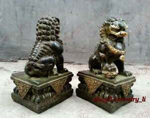 Chinese Classic Archaic Bronze lion pair Fu Foo Dog guard Statues Big 21cm