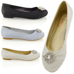 Womens-Bridal-Satin-Pumps-Ladies-Diamante-Brooch-Slip-On-Flat-Ballerina-Shoes