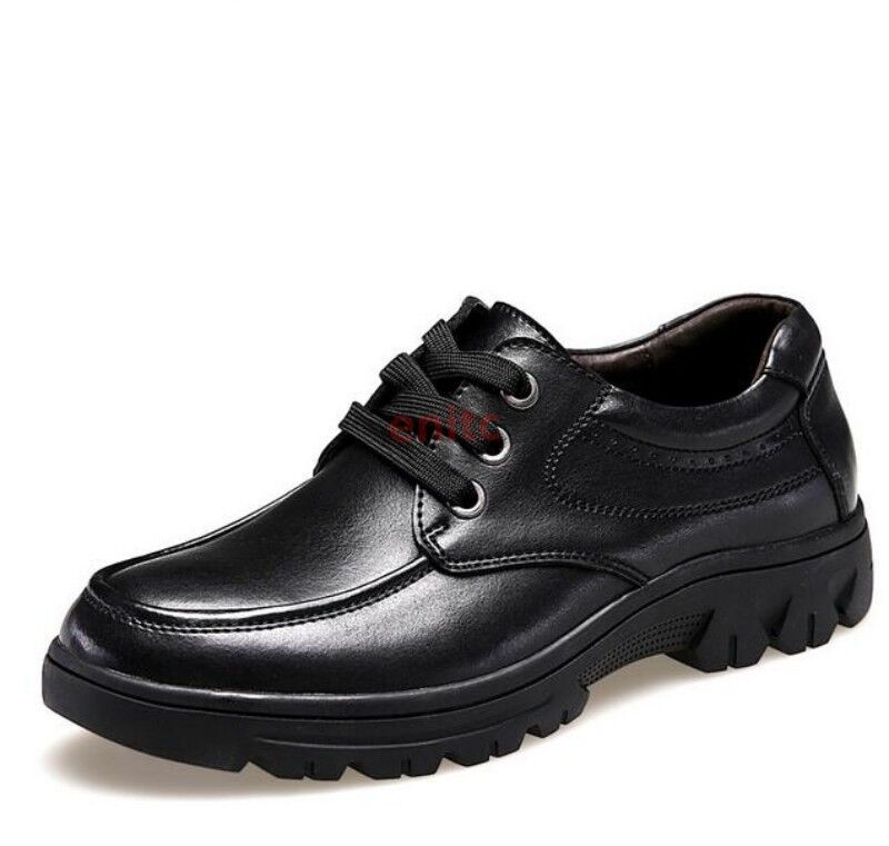 Synthetic Leather Lace Up Low Top Causal Business Mens Platform shoes Plus Size