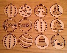 12X Wooden Christmas Tree Decoration Mixed Baubles.xmas Mdf Embellishment
