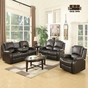 Sofa-Set-Loveseat-Chaise-Couch-Recliner-3-2-1-Seater-Brown-Leather-Living-Room