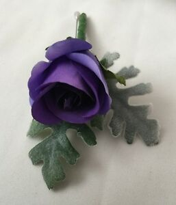 Image Is Loading 1x Silk Wedding Flower Violet Purple Rose On