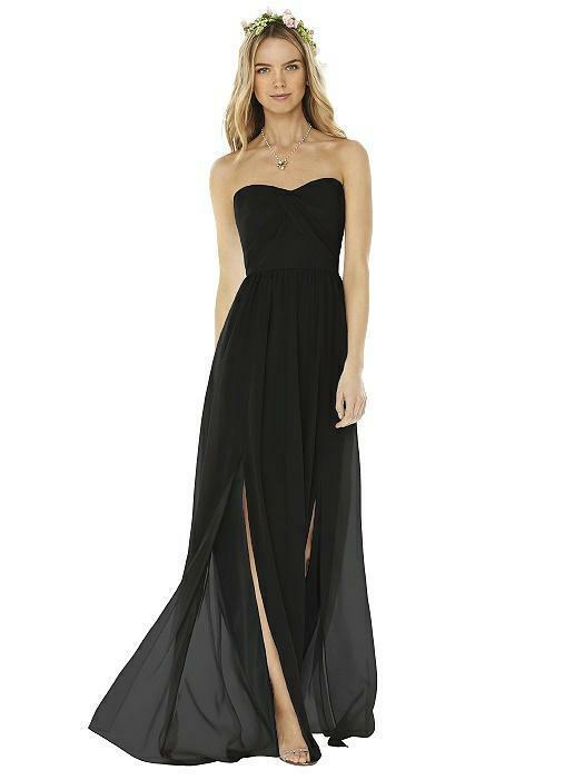 NEW SOCIAL BRIDESMAIDS 8159 black dress gown SZ 6 CHIFFON FULL LENGTH STRAPLESS