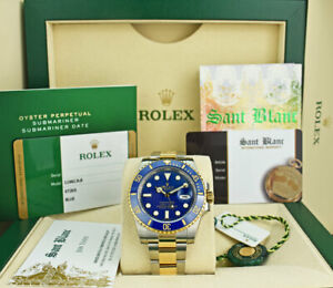 ROLEX-18kt-Gold-amp-SS-SUBMARINER-Blue-40mm-BOX-CARD-116613-SANT-BLANC