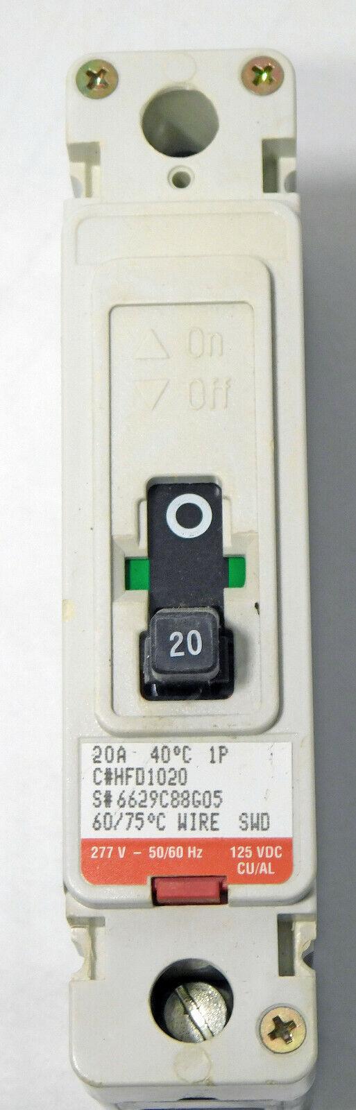 Cutler Hammer HFD1015L HFD 65k Industrial Circuit Breaker 15A 1P 277V