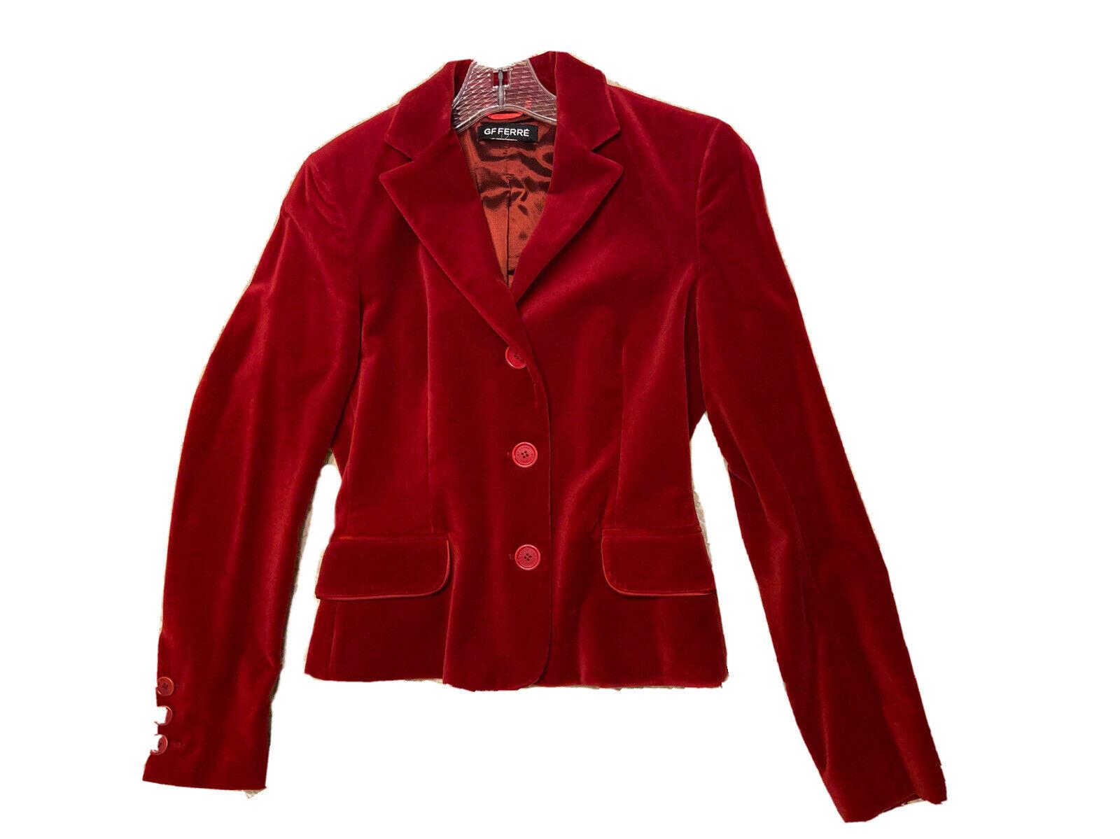 GF FERRE Vintage Red Velvet Velour Jacket Blazer … - image 5