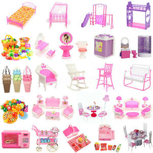 8 type maison poup e meuble chaise chambre lit barbie. Black Bedroom Furniture Sets. Home Design Ideas