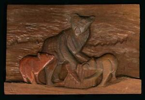 Early mahogany relief carving bear with cubs by bruno wolfgang