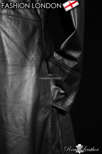 /'NEO/' Black Men/'s Lambskin MATRIX Full-Length Real Leather Long Coat Jacket