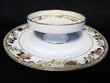 Hand Painted Nippon Porcelain Serving Dish Cheese & Crackers Gold Scroll Work