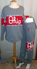 NWT VICTORIAS SECRET PINK GRAY OHIO STATE BUCKEYES SWEATSHIRT CAMPUS PANTS SET S