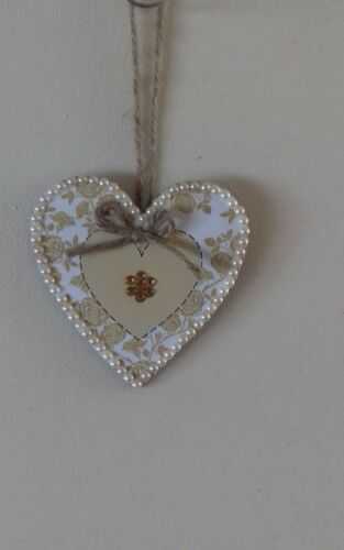 Gold /& Cream Wooden Hanging Heart Decoration Ornament Any Colours