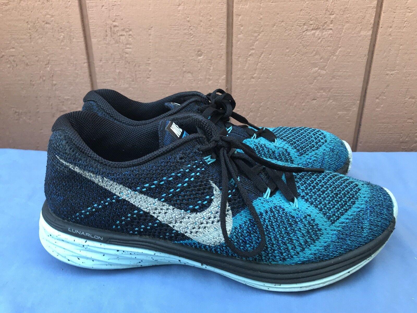 Nike Flyknit Lunar3 Men's US 8 Blue Navy White Running Shoe 698181 004 A7