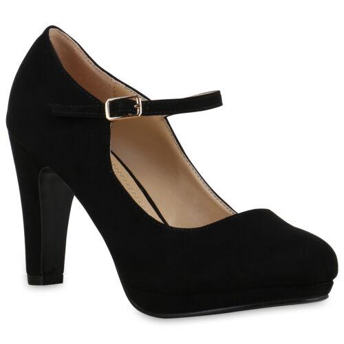 892747 Damen Pumps Mary Janes Blockabsatz High Heels T-Strap Trendy