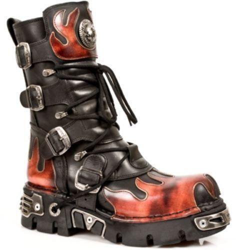 Newrock New Rock 591 S1 Rojo llama Goth Botas Motociclista Botas De Cuero Negro Metálico