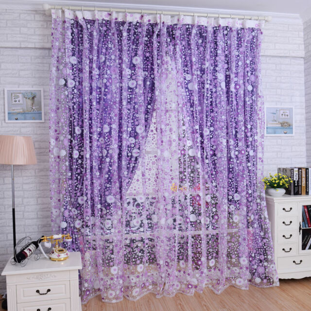 Print Floral Voile Door Curtain Window Room Curtain Divider Scarf Reliable