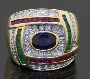 Heavy-14K-gold-2-42CTW-diamond-ruby-emerald-Blue-sapphire-cluster-cocktail-ring