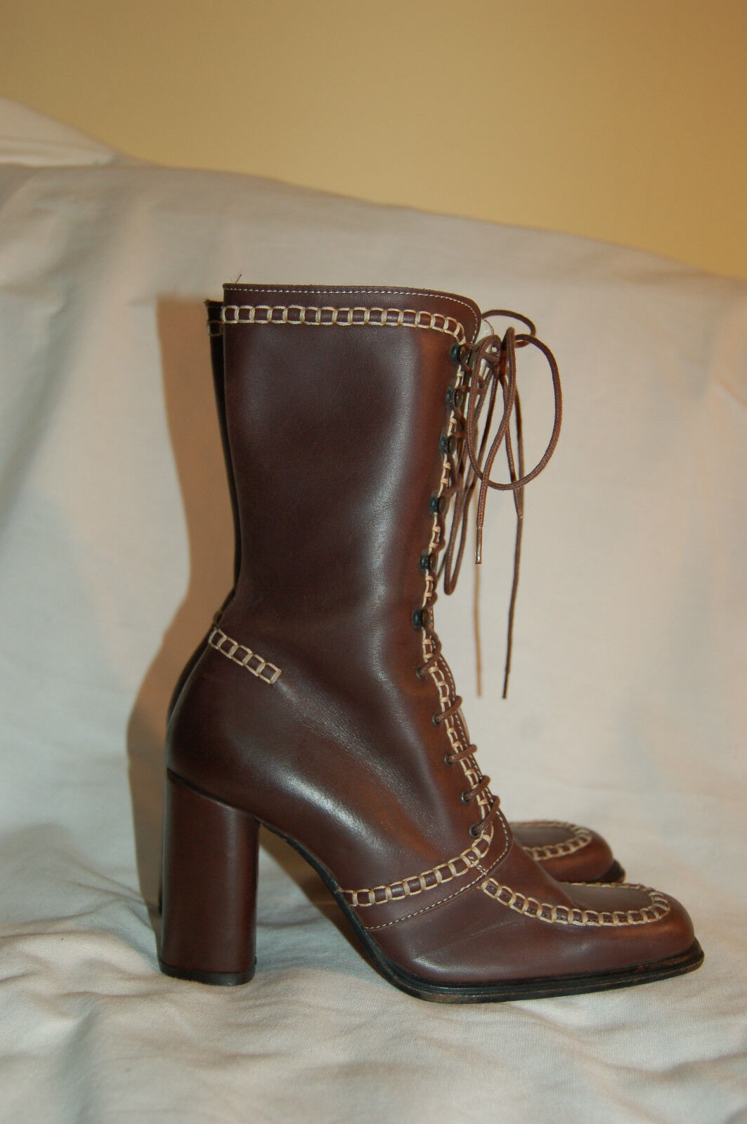 women Kotty Brown Lace up Leather Boots Size 5 1 2 Made in