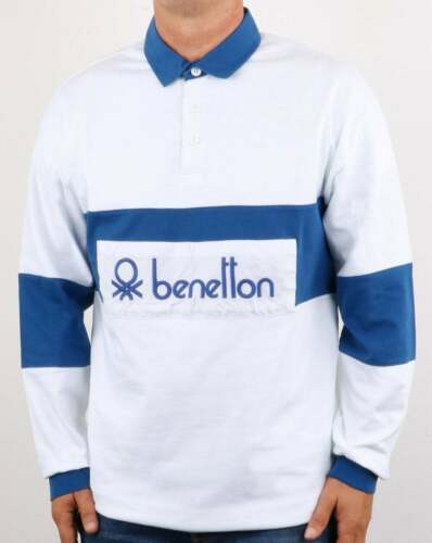 80s casual classic Benetton Rugby Shirt in White /& Blue long sleeve polo