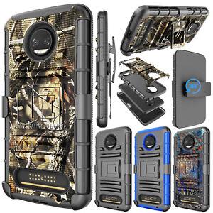 For-Motorola-Moto-Z2-Force-Droid-Stand-Case-Belt-Clip-Holster-Hybrid-Hard-Cover
