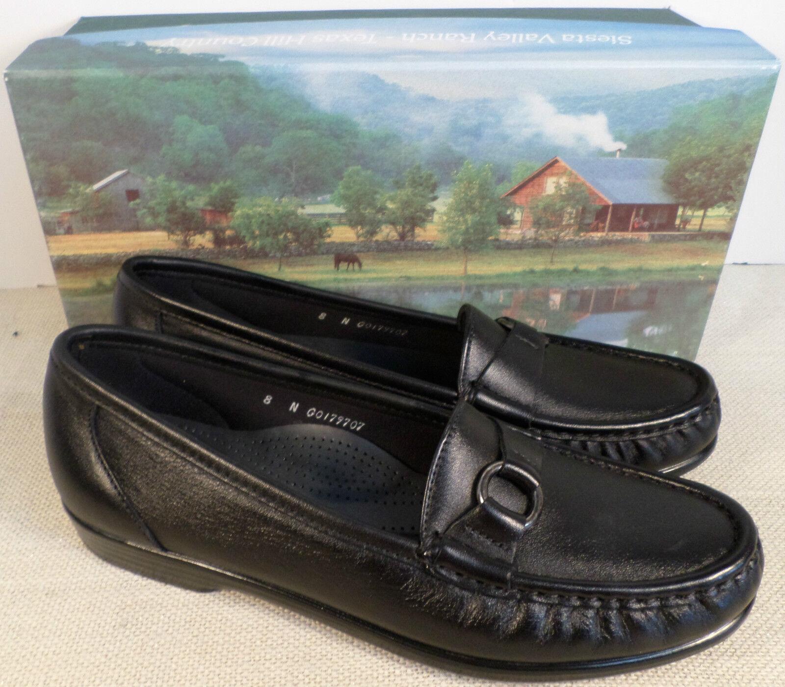 SAS JEWEL BLACK WOMEN'S LEATHER SLIP ON LOAFER DRESS Schuhe NEU IN BOX