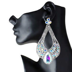 Image Is Loading Drag Queen Huge Ab Chandelier Earrings Stage Pageant
