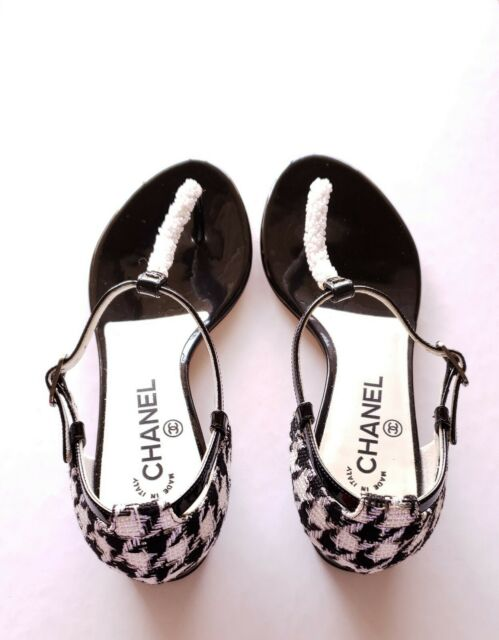 c3c68d39f6c CHANEL Beaded Patent Leather Tweed CC Logo Thong Sandals Flats Shoes ...
