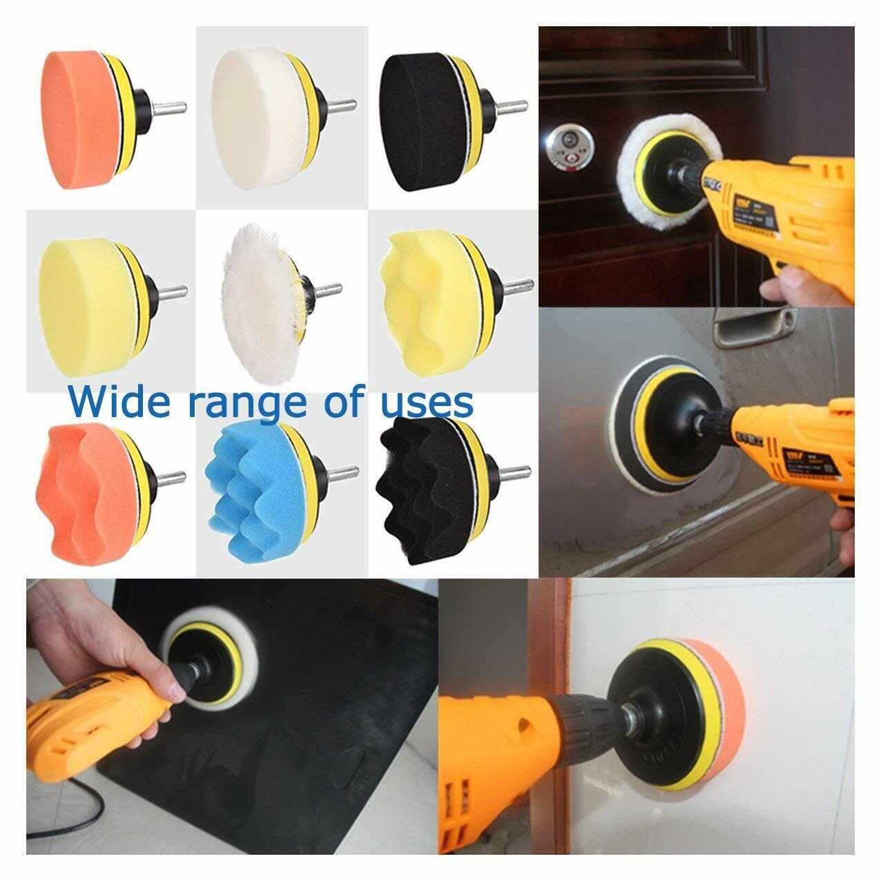 pulidora de autos para brillar carro mini de 4 inches adaptador pa taladro 9pcs