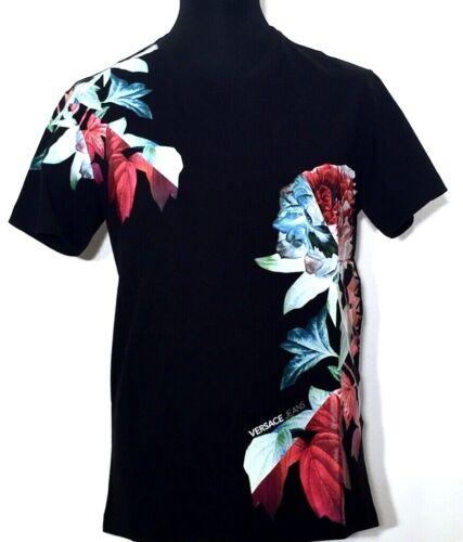 VERSACE JEANS T-shirt homme noir Black Nero Flower Print M L XXL NEUF ÉTIQUETTE