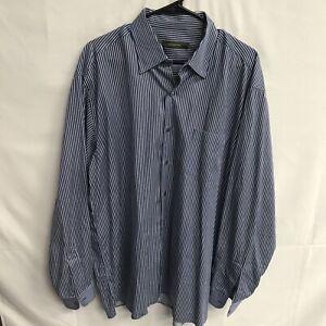 Ermenegildo-Zegna-Men-s-Button-Down-LS-Shirt-2XL-Striped-Free-Ship