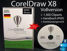 Corel Draw X8 Vollversion Box + DVD, Cliparts, Schriften, Handbuch (PDF) OVP NEU