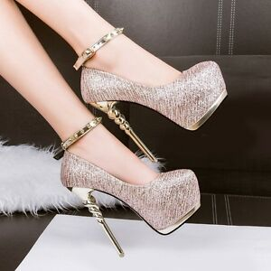 8845054dd6f5 Sexy Women Glitter Party 6inch Platform High Heels Pumps Ankle Strap ...