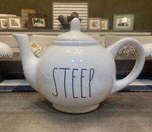 Rae-Dunn-Magenta-039-STEEP-Teapot-Ceramic-Ivory-Large-Letter-Farmhouse