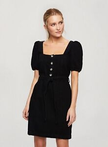 Miss Selfridge Womens Black Puff Sleeve Denim Dress Square Neck Belted Buttoned