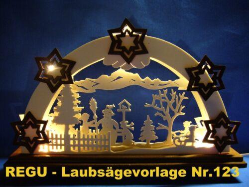 + REGU - Laubsägevorlage Nr.123 für Schwibbogen - Motiv    Kinder im Winter