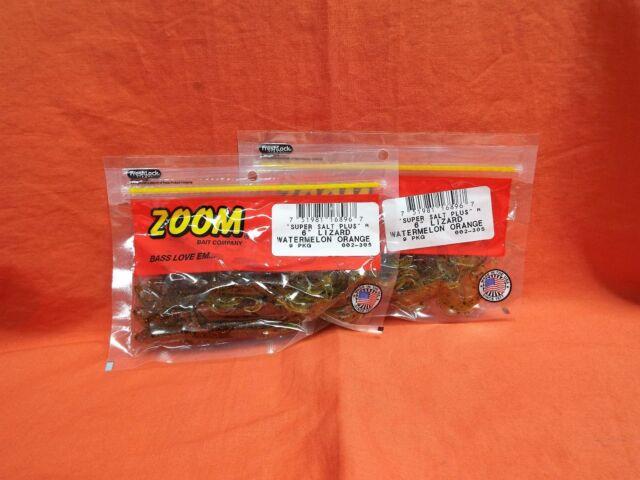 Zoom Bass Fishing Bait 002-305 Super Salt Lizard 9 PK Watermelon Orange for sale online