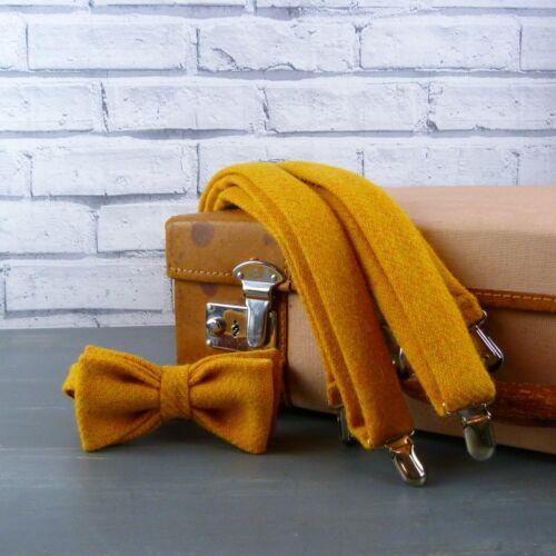 Handmade Harris Tweed Bow Tie and Braces Mustard Yellow