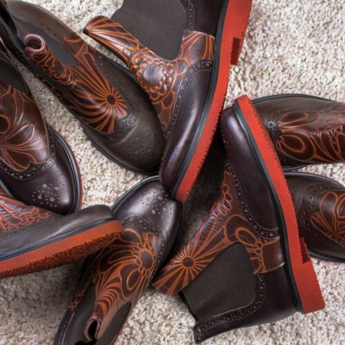 Details about  /Floral Chelsea Boots Italian Handmade Fantasy Decorative Brogue Wingtip