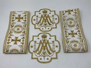 A-amp-o-Cruz-Emblems-Banda-Vestment-Oro-en-Blanco-6-PC-Lote-Paquete