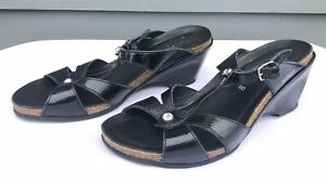 Mephisto-Air-Relax-Womens-Black-Patent-Leather-Slides-Wedge-Sandals-US-10-EU-40