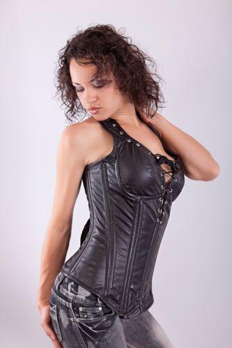 Noir en Cuir Véritable sur buste Corset Devant Lacets Real Steel Bones Lacets 2XS ~ 7XL