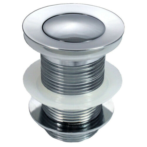 CHROME UNSLOTTED CLICK CLACK BASIN SINK TAP PUSH BUTTON WASTE DISC POP UP PLUG