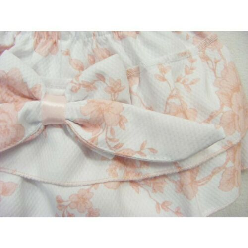 Baby Girls Spanish Style Pink Bow Frilly Cotton Jam Pants /& White Top Up to 24M