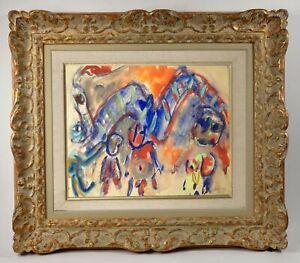MUGUETTE BASTIDE (né en 1926-) ELEVE DE FERNAND LEGER SCENE ANIMEE (234)