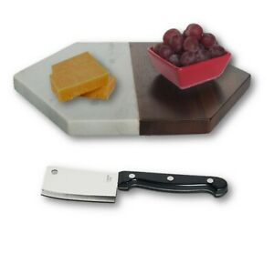 LIBBEY-MARBLE-amp-WOOD-CHEESE-SERVING-BOARD-WITH-KNIFE-amp-FINGER-DIPPING-BOWL-NEW