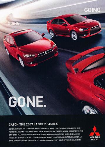 2009 Mitsubishi Lancer Gone Classic Vintage Advertisement Ad D63