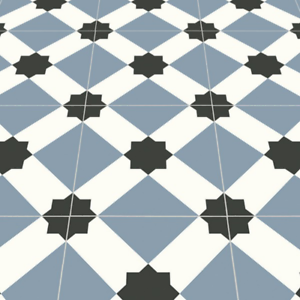 Blue Victorian Tile Effect Sheet Vinyl Flooring Kitchen ...